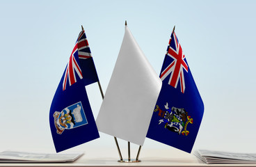 Flags of Falkland Islands and South Georgia and Sandwich with a white flag in the middle
