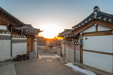 Sunrise in the morning with view of Bukchon Hanok Village in Seo