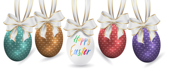Easter ornament elements hanging. Happy easter image vector. Modern Easter background with colorful eggs and gold hanging. Template Easter greeting card, vector.
