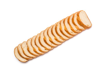 Sliced loaf of wheat bread on white background