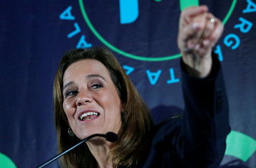 Presidential independent pre-candidate Margarita Zavala gestures during an event to thank her campaign staff for helping her to collect citizen's signatures for the electoral authority to become an independent candidate, in Mexico City