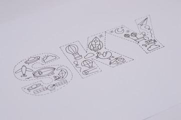 inked draw of sky word