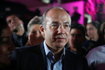 Former Mexican president Calderon attends an event where his wife Zavala, presidential independent pre-candidate, thanks her campaign staff for helping her to collect citizen's signatures for the electoral authority in Mexico City