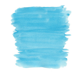 Abstract texture brush ink background blue aquarell watercolor splash paint on white background