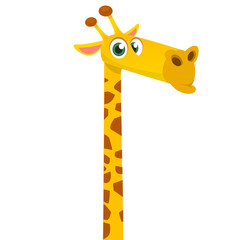 Cartoon funny giraffe. Vector illustration of african savanna giraffe smiling.