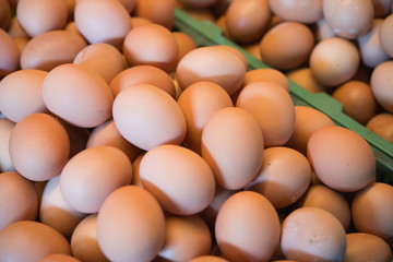 Background of fresh chicken eggs in the market.