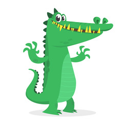 Cute cartoon crocodile. Vector  illustration of a green crocodile waving ahands. Isolated on white
