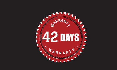 42 days warranty icon vintage rubber stamp guarantee