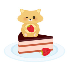 cute kawaii hamster with fresh Strawberry, cake decorated pink cream and chocolate icing, piece of cake on the blue plate, pastel colors on white background. Card design. Vector