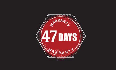 47 days warranty icon vintage rubber stamp guarantee