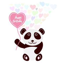 Happy birthday Card design cute kawaii panda with balloon in the shape of heart, pastel colors on white background. Vector