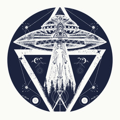 UFO tattoo art and t-shirt design. Invasion of aliens. Mystical symbol paranormal phenomena, first contact, UFO kidnapped tourist from tent in mountains tattoo. Aliens kidnap human