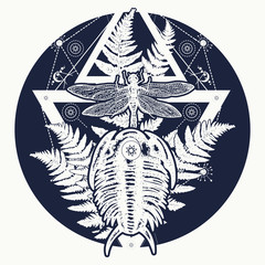 Prehistoric tattoo art. Symbol of paleontology, science, education. Trilobites, dragonfly and fern tattoo. Dragonfly in triangle t-shirt design