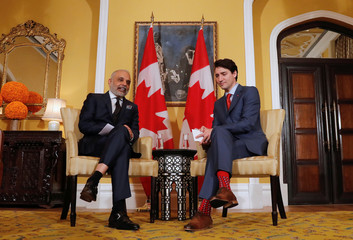 Canadian Prime Minister Justin Trudeau and Hari Bhartia, Co-Chairman and Founder of Jubilant Bhartia Group attend a meeting in Mumbai