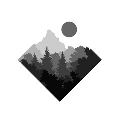 Beautiful nature landscape with silhouette of forest and mountain, natural scene icon in geometric shape design, vector illustration in black and white colors