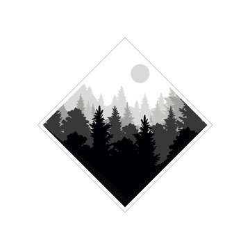 Beautiful nature landscape with silhouette of coniferous forest, natural scene icon in geometric shape design,