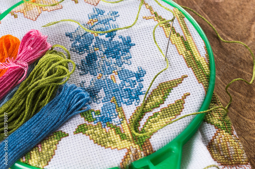 The Process Of Cross Stitch Canvas On Hoops Needles Embroidery