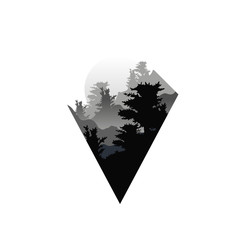 Beautiful nature landscape with silhouettes of forest trees in fog, sunset of big sun, natural scene icon in geometric triangle shaped design, vector illustration in black and white colors