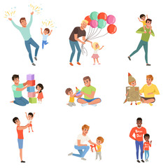 Fathers playing and enjoying good quality time with their happy little children set, fatherhood concept vector Illustrations on a white background