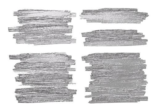 Silver brush stoke texture on white background vector illustration