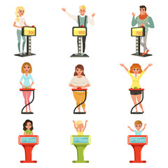 People taking part at quiz show set, players answering questions standing at stand with buttons vector Illustrations