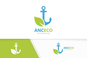 Vector anchor and leaf logo combination. Marine and eco symbol or icon. Unique navy and organic logotype design template.