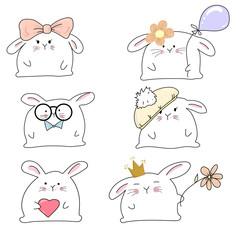 set of 6 funny and cute happy kawaii rabbits