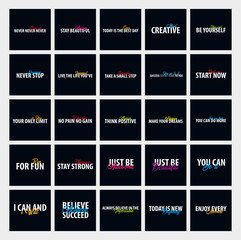 Big set of Inspiring motivation quotes. Vector typography posters design concept