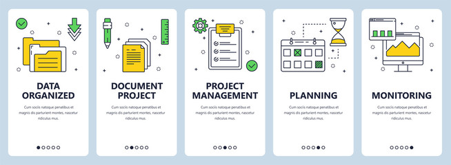 Vector modern thin line project management concept web banner set