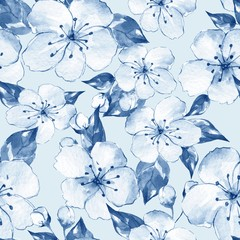 Floral seamless pattern 8. Blue watercolor background with white flowers