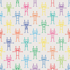 Vector seamless pattern of robots