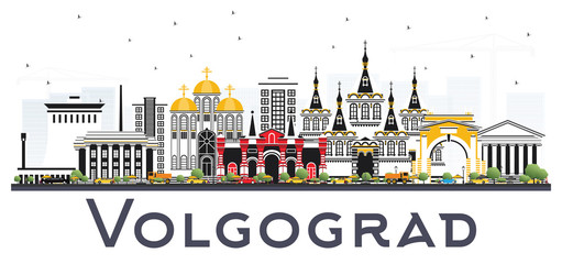 Volgograd Russia City Skyline with Color Buildings Isolated on White.