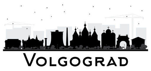 Volgograd Russia City Skyline Silhouette with Black Buildings Isolated on White.