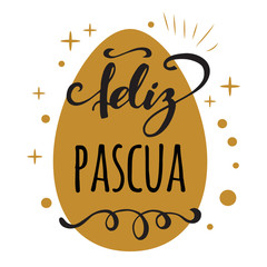 Feliz Pascua Happy Easter in Spanish greeting card on bright gold egg background
