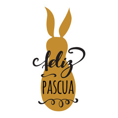 Feliz Pascua Happy Easter in Spanish greeting card on bright golden bunny background