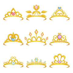 Collection of various royal crowns decorated with shiny gemstones. Golden princess tiara. Precious women s accessories. Expensive jewelry. Colorful flat vector design