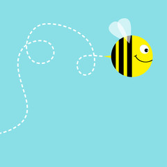 Flying bee in the sky. Dash line air loop. Cute cartoon funny fat caharacter. Love greeting card. Flat design. Baby blue background