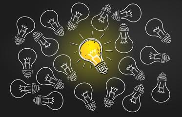 ampoules comme symbole d'idées