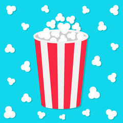 Popcorn round bucket box. Movie Cinema icon in flat design style. Pop corn popping. Flying element. Blue background. Fast food.
