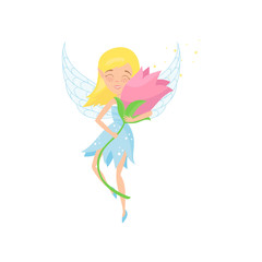 Cute fairy flying with beautiful pink flower in hands. Cartoon blond girl in blue dress. Adorable pixie with little wings. Fictional fairytale character. Flat vector design