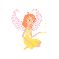 Red-haired fairy sitting and spreading pixie dust using magic wand. Fantasy fairytale character. Cartoon smiling girl with beautiful wings. Colorful flat vector design