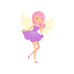 Lovely fairy with wings dressed in little purple dress. Cartoon girl character with pink hair. Fictional creature from fairytales. Colorful flat vector design