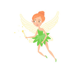 Cartoon illustration of fairy girl with magic wand in hand. Cute fairytale character with elf ears and wings. Little pixie in green dress. Colorful flat vector design