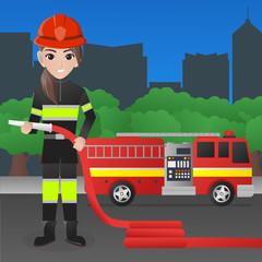 Female Firefighter Holding Water Hose