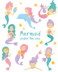 Set of beautiful mermaids. Little girls with colorful hair and fish tails. Fantastic sea life. Mythical marine creatures. Flat vector for children book or postcard