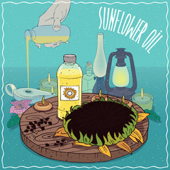 Sunflower oil used as fuel for oil lamp
