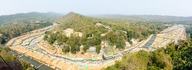 "panoramic of ""Shwe Set Taw"" pagoda festival on the Man river, Myanmar, Feb-2018"