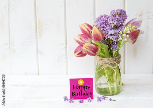 Happy Birthday Greeting Card With Spring Bouquet Of Lilac And Tulips