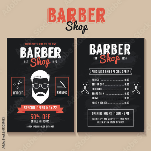 barber shop flyer template price list and special offer stock