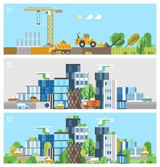Construction site. Big city. Modern green city. Environmental info-graphic.